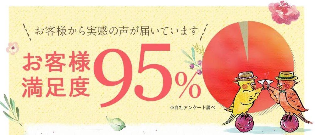 micoco飲む乳酸菌のお客様満足度は、なんと95%という高評価です。